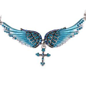najlacnejšia bižutéria - náhrdelník - lacná bižutéria - bižutéria náušnice - bižutéria náhrdelníky - lacna bizuteria - swarovski sety - swarovsi náhrdelník - najlacnejšia bižutéria - swarovski set - doplnky na stužkovú - šperky sety - šperky z chirurgickej ocele - bižutéria sety - bižutéria náhrdelníky - darček na stužkovú - šperky na stužkovú - set náhrdelník náušnice - Náhrdelník Angel Cross-Modrá KP2274
