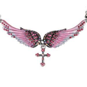 najlacnejšia bižutéria - náhrdelník - lacná bižutéria - bižutéria náušnice - bižutéria náhrdelníky - lacna bizuteria - swarovski sety - swarovsi náhrdelník - najlacnejšia bižutéria - swarovski set - doplnky na stužkovú - šperky sety - šperky z chirurgickej ocele - bižutéria sety - bižutéria náhrdelníky - darček na stužkovú - šperky na stužkovú - set náhrdelník náušnice - Náhrdelník Angel Cross-Ružová KP2273