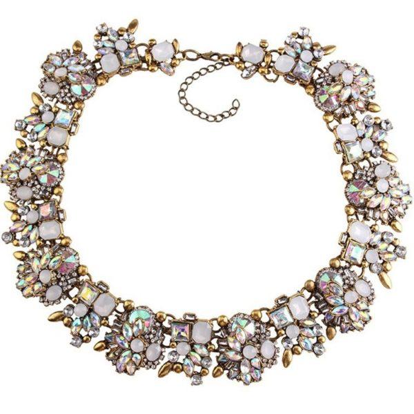 najlacnejšia bižutéria - náhrdelník - lacná bižutéria - bižutéria náušnice - bižutéria náhrdelníky - lacna bizuteria - swarovski sety - swarovsi náhrdelník - najlacnejšia bižutéria - swarovski set - doplnky na stužkovú - šperky sety - šperky z chirurgickej ocele - bižutéria sety - bižutéria náhrdelníky - darček na stužkovú - šperky na stužkovú - set náhrdelník náušnice - Náhrdelník Bloom Flower-Biela AB KP2409