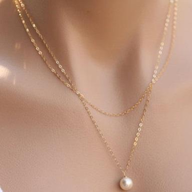 najlacnejšia bižutéria - náhrdelník - lacná bižutéria - bižutéria náušnice - bižutéria náhrdelníky - lacna bizuteria - swarovski sety - swarovsi náhrdelník - najlacnejšia bižutéria - swarovski set - doplnky na stužkovú - šperky sety - šperky z chirurgickej ocele - bižutéria sety - bižutéria náhrdelníky - darček na stužkovú - šperky na stužkovú - set náhrdelník náušnice - Náhrdelník Double Pearl-Zlatá KP3711