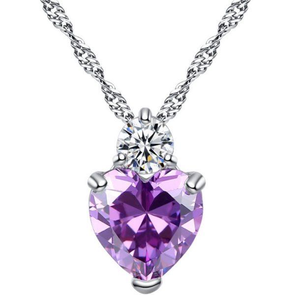 najlacnejšia bižutéria - náhrdelník - lacná bižutéria - bižutéria náušnice - bižutéria náhrdelníky - lacna bizuteria - swarovski sety - swarovsi náhrdelník - najlacnejšia bižutéria - swarovski set - doplnky na stužkovú - šperky sety - šperky z chirurgickej ocele - bižutéria sety - bižutéria náhrdelníky - darček na stužkovú - šperky na stužkovú - set náhrdelník náušnice - Náhrdelník Srdce-Str./Fialová KP3387