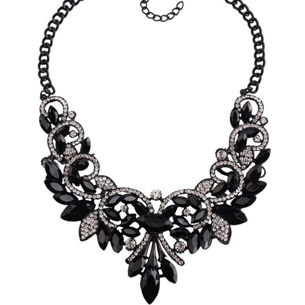najlacnejšia bižutéria - náhrdelník - lacná bižutéria - bižutéria náušnice - bižutéria náhrdelníky - lacna bizuteria - swarovski sety - swarovsi náhrdelník - najlacnejšia bižutéria - swarovski set - doplnky na stužkovú - šperky sety - šperky z chirurgickej ocele - bižutéria sety - bižutéria náhrdelníky - darček na stužkovú - šperky na stužkovú - set náhrdelník náušnice - Náhrdelník Vintage Spring-Čierna KP2397