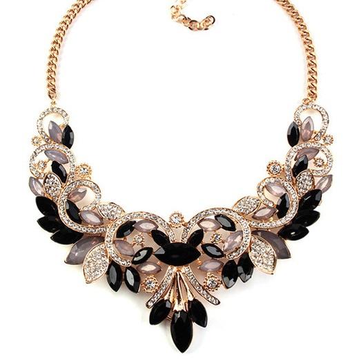 najlacnejšia bižutéria - náhrdelník - lacná bižutéria - bižutéria náušnice - bižutéria náhrdelníky - lacna bizuteria - swarovski sety - swarovsi náhrdelník - najlacnejšia bižutéria - swarovski set - doplnky na stužkovú - šperky sety - šperky z chirurgickej ocele - bižutéria sety - bižutéria náhrdelníky - darček na stužkovú - šperky na stužkovú - set náhrdelník náušnice - Náhrdelník Vintage Spring-Čierna/Zlatá KP2402