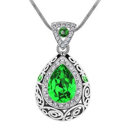 najlacnejšia bižutéria - náhrdelník - lacná bižutéria - bižutéria náušnice - bižutéria náhrdelníky - lacna bizuteria - swarovski sety - swarovsi náhrdelník - najlacnejšia bižutéria - swarovski set - doplnky na stužkovú - šperky sety - šperky z chirurgickej ocele - bižutéria sety - bižutéria náhrdelníky - darček na stužkovú - šperky na stužkovú - set náhrdelník náušnice - Náhrdelník Adalia-Zelená KP2628