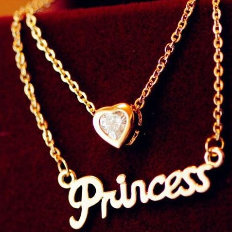 najlacnejšia bižutéria - náhrdelník - lacná bižutéria - bižutéria náušnice - bižutéria náhrdelníky - lacna bizuteria - swarovski sety - swarovsi náhrdelník - najlacnejšia bižutéria - swarovski set - doplnky na stužkovú - šperky sety - šperky z chirurgickej ocele - bižutéria sety - bižutéria náhrdelníky - darček na stužkovú - šperky na stužkovú - set náhrdelník náušnice - Náhrdelník Love Princess-Zlatá KP2572