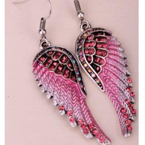 lacna bizuteria - najlacnejšia bižutéria - doplnky na stužkovú - šperky sety - šperky z chirurgickej ocele - darček na stužkovú - šperky na stužkovú - Náušnice Angel Cross-Ružová KP2276