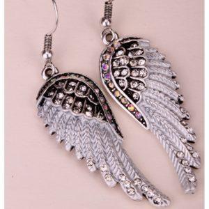 lacna bizuteria - najlacnejšia bižutéria - doplnky na stužkovú - šperky sety - šperky z chirurgickej ocele - darček na stužkovú - šperky na stužkovú - Náušnice Angel Cross-Strieborná KP2277