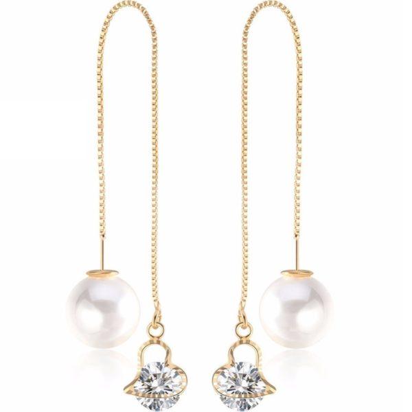 lacna bizuteria - najlacnejšia bižutéria - doplnky na stužkovú - šperky sety - šperky z chirurgickej ocele - darček na stužkovú - šperky na stužkovú - Náušnice Cute Pearl-Zlatá/Typ1 KP2477