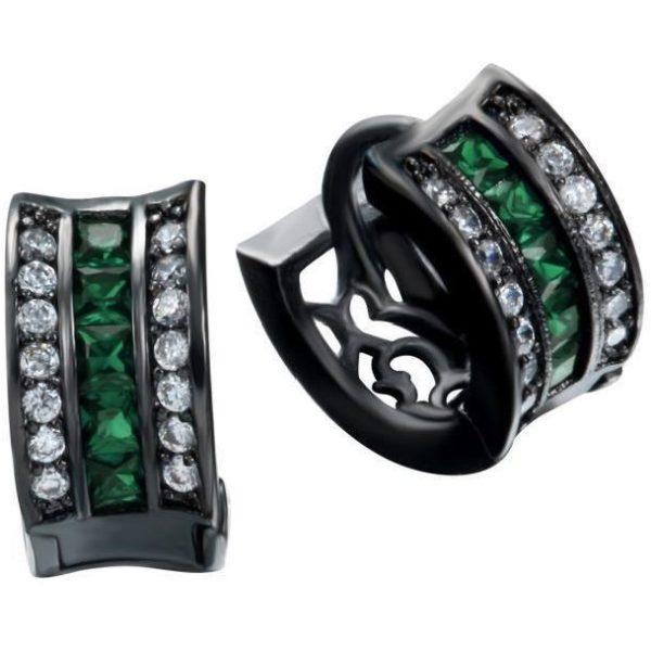 lacna bizuteria - najlacnejšia bižutéria - doplnky na stužkovú - šperky sety - šperky z chirurgickej ocele - darček na stužkovú - šperky na stužkovú - Náušnice Divine-Čierna/Zelená KP2381