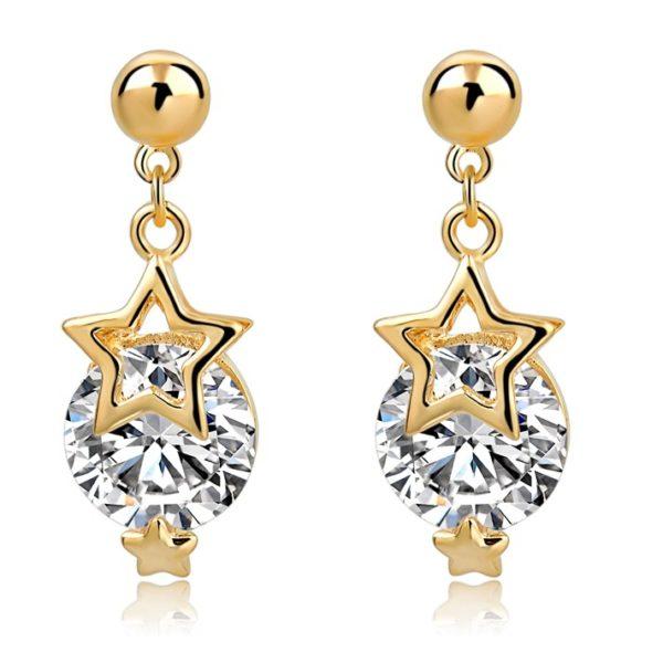 lacna bizuteria - najlacnejšia bižutéria - doplnky na stužkovú - šperky sety - šperky z chirurgickej ocele - darček na stužkovú - šperky na stužkovú - Náušnice Star Circle KP3523