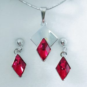 najlacnejšia bižutéria - náhrdelník - lacná bižutéria - bižutéria náušnice - bižutéria náhrdelníky - lacna bizuteria - swarovski sety - swarovsi náhrdelník - najlacnejšia bižutéria - swarovski set - doplnky na stužkovú - šperky sety - šperky z chirurgickej ocele - bižutéria sety - bižutéria náhrdelníky - darček na stužkovú - šperky na stužkovú - set náhrdelník náušnice - Set Elvira SWAROVSKI-Str./Červená KP3944