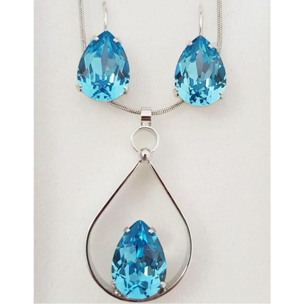 najlacnejšia bižutéria - náhrdelník - lacná bižutéria - bižutéria náušnice - bižutéria náhrdelníky - lacna bizuteria - swarovski sety - swarovsi náhrdelník - najlacnejšia bižutéria - swarovski set - doplnky na stužkovú - šperky sety - šperky z chirurgickej ocele - bižutéria sety - bižutéria náhrdelníky - darček na stužkovú - šperky na stužkovú - set náhrdelník náušnice - Set Strappare SWAROVSKI-Modrá KP4739