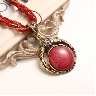 najlacnejšia bižutéria - náhrdelník - lacná bižutéria - bižutéria náušnice - bižutéria náhrdelníky - lacna bizuteria - swarovski sety - swarovsi náhrdelník - najlacnejšia bižutéria - swarovski set - doplnky na stužkovú - šperky sety - šperky z chirurgickej ocele - bižutéria sety - bižutéria náhrdelníky - darček na stužkovú - šperky na stužkovú - set náhrdelník náušnice - Náhrdelník Vintage - Červená/Zlatá KP2210