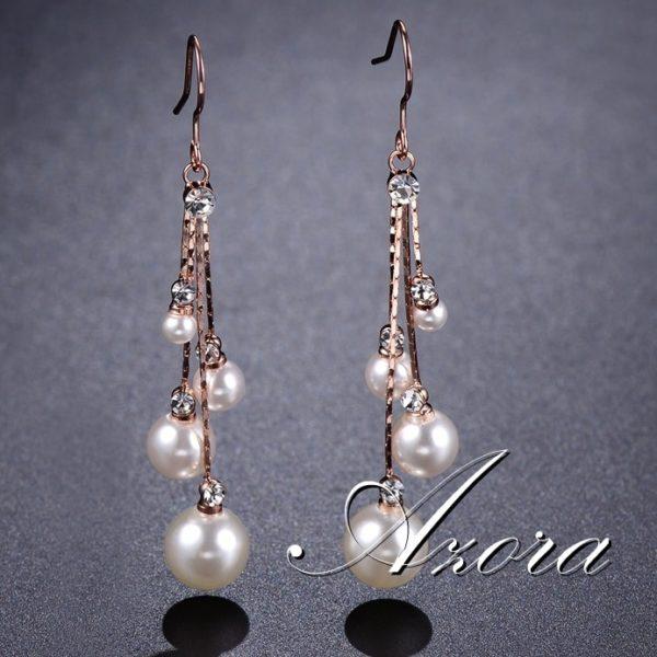 lacna bizuteria - najlacnejšia bižutéria - doplnky na stužkovú - šperky sety - šperky z chirurgickej ocele - darček na stužkovú - šperky na stužkovú - Náušnice Pearl AZORA-Zlatá KP4493