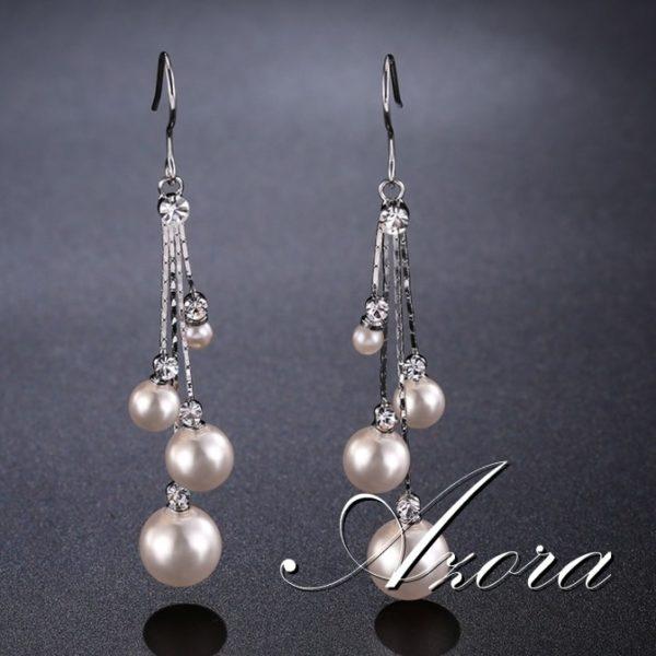 lacna bizuteria - najlacnejšia bižutéria - doplnky na stužkovú - šperky sety - šperky z chirurgickej ocele - darček na stužkovú - šperky na stužkovú - Náušnice Pearl AZORA-Strieborná KP4494