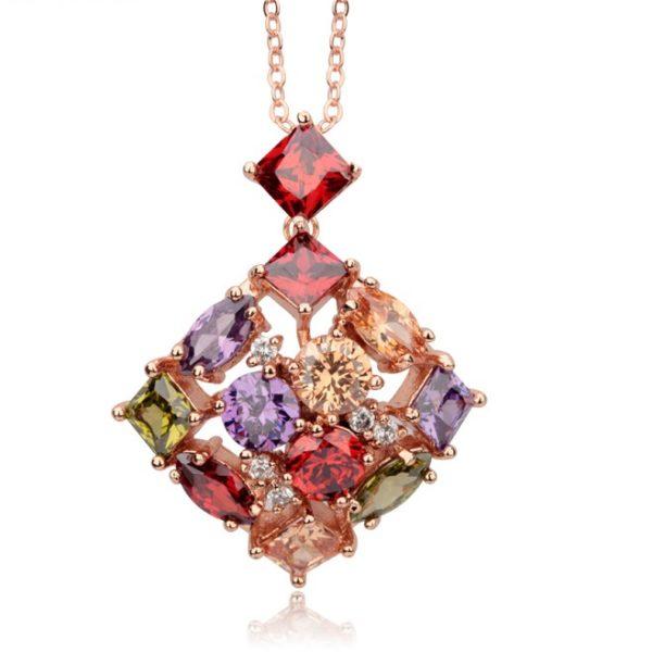 najlacnejšia bižutéria - náhrdelník - lacná bižutéria - bižutéria náušnice - bižutéria náhrdelníky - lacna bizuteria - swarovski sety - swarovsi náhrdelník - najlacnejšia bižutéria - swarovski set - doplnky na stužkovú - šperky sety - šperky z chirurgickej ocele - bižutéria sety - bižutéria náhrdelníky - darček na stužkovú - šperky na stužkovú - set náhrdelník náušnice - Náhrdelník Square Bamoer-Multi KP251