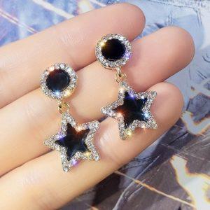 lacna bizuteria - najlacnejšia bižutéria - doplnky na stužkovú - šperky sety - šperky z chirurgickej ocele - darček na stužkovú - šperky na stužkovú - Náušnice Black Star-Čierna KP5106