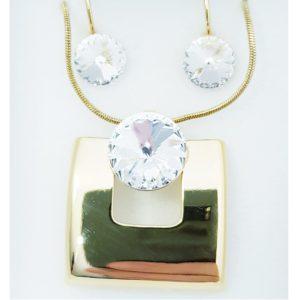 najlacnejšia bižutéria - náhrdelník - lacná bižutéria - bižutéria náušnice - bižutéria náhrdelníky - lacna bizuteria - swarovski sety - swarovsi náhrdelník - najlacnejšia bižutéria - swarovski set - doplnky na stužkovú - šperky sety - šperky z chirurgickej ocele - bižutéria sety - bižutéria náhrdelníky - darček na stužkovú - šperky na stužkovú - set náhrdelník náušnice - Set Block SWAROVSKI-Zlatá/Kryštálová KP4407