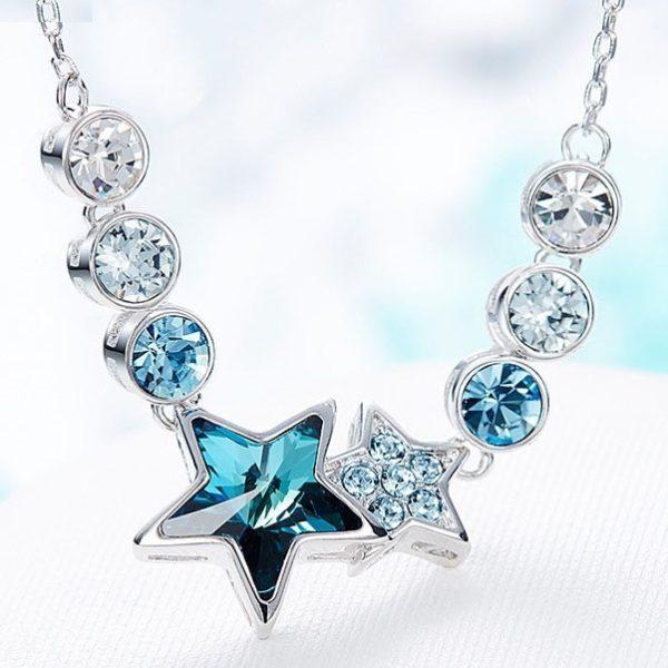 najlacnejšia bižutéria - náhrdelník - lacná bižutéria - bižutéria náušnice - bižutéria náhrdelníky - lacna bizuteria - swarovski sety - swarovsi náhrdelník - najlacnejšia bižutéria - swarovski set - doplnky na stužkovú - šperky sety - šperky z chirurgickej ocele - bižutéria sety - bižutéria náhrdelníky - darček na stužkovú - šperky na stužkovú - set náhrdelník náušnice - Náhrdelník Blue Star EXCLUSIVE-Modrá KP5027