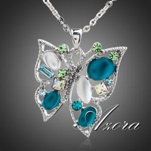 najlacnejšia bižutéria - náhrdelník - lacná bižutéria - bižutéria náušnice - bižutéria náhrdelníky - lacna bizuteria - swarovski sety - swarovsi náhrdelník - najlacnejšia bižutéria - swarovski set - doplnky na stužkovú - šperky sety - šperky z chirurgickej ocele - bižutéria sety - bižutéria náhrdelníky - darček na stužkovú - šperky na stužkovú - set náhrdelník náušnice - Náhrdelník Butterfly Elegant AZORA-Tyrkysová KP244