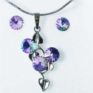 najlacnejšia bižutéria - náhrdelník - lacná bižutéria - bižutéria náušnice - bižutéria náhrdelníky - lacna bizuteria - swarovski sety - swarovsi náhrdelník - najlacnejšia bižutéria - swarovski set - doplnky na stužkovú - šperky sety - šperky z chirurgickej ocele - bižutéria sety - bižutéria náhrdelníky - darček na stužkovú - šperky na stužkovú - set náhrdelník náušnice - Set Carla SWAROVSKI-Str./FialováAB KP3905