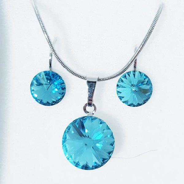 najlacnejšia bižutéria - náhrdelník - lacná bižutéria - bižutéria náušnice - bižutéria náhrdelníky - lacna bizuteria - swarovski sety - swarovsi náhrdelník - najlacnejšia bižutéria - swarovski set - doplnky na stužkovú - šperky sety - šperky z chirurgickej ocele - bižutéria sety - bižutéria náhrdelníky - darček na stužkovú - šperky na stužkovú - set náhrdelník náušnice - Set Circles SWAROVSKI-Str./Sl.Modrá KP4409