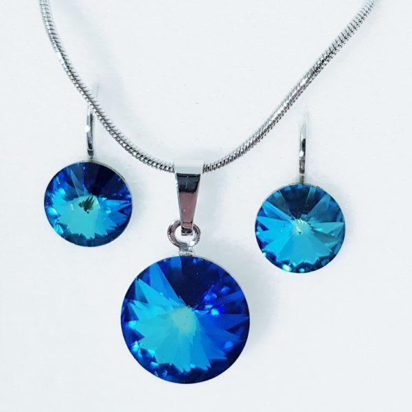 najlacnejšia bižutéria - náhrdelník - lacná bižutéria - bižutéria náušnice - bižutéria náhrdelníky - lacna bizuteria - swarovski sety - swarovsi náhrdelník - najlacnejšia bižutéria - swarovski set - doplnky na stužkovú - šperky sety - šperky z chirurgickej ocele - bižutéria sety - bižutéria náhrdelníky - darček na stužkovú - šperky na stužkovú - set náhrdelník náušnice - Set Circles SWAROVSKI-Str./Tm.Modrá KP4412