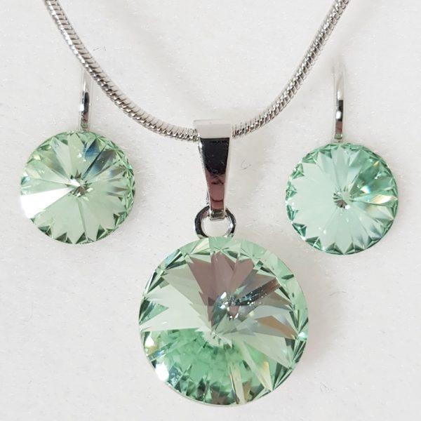 najlacnejšia bižutéria - náhrdelník - lacná bižutéria - bižutéria náušnice - bižutéria náhrdelníky - lacna bizuteria - swarovski sety - swarovsi náhrdelník - najlacnejšia bižutéria - swarovski set - doplnky na stužkovú - šperky sety - šperky z chirurgickej ocele - bižutéria sety - bižutéria náhrdelníky - darček na stužkovú - šperky na stužkovú - set náhrdelník náušnice - Set Circles SWAROVSKI-Str./Zelená KP4410
