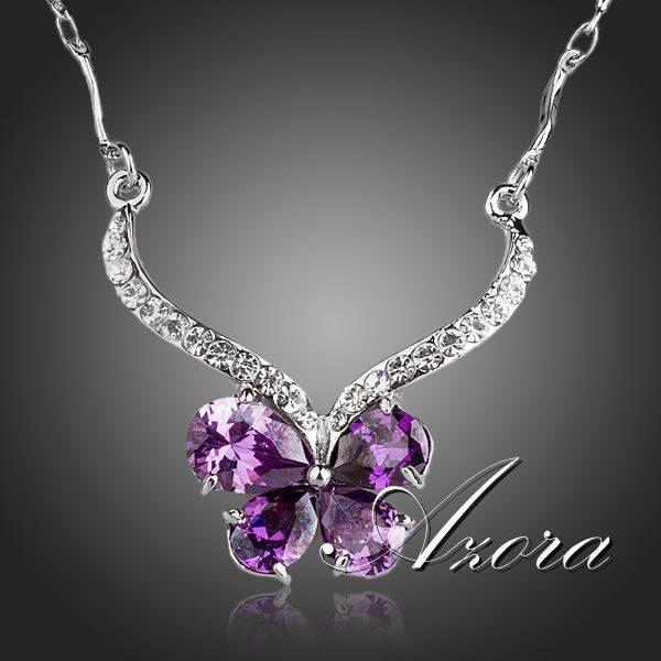 najlacnejšia bižutéria - náhrdelník - lacná bižutéria - bižutéria náušnice - bižutéria náhrdelníky - lacna bizuteria - swarovski sety - swarovsi náhrdelník - najlacnejšia bižutéria - swarovski set - doplnky na stužkovú - šperky sety - šperky z chirurgickej ocele - bižutéria sety - bižutéria náhrdelníky - darček na stužkovú - šperky na stužkovú - set náhrdelník náušnice - Náhrdelník Butterfly Crystal AZORA-Fialová KP278