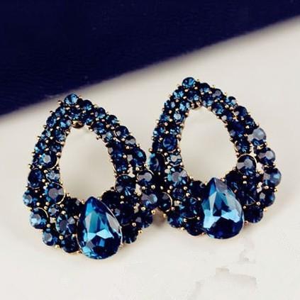 lacna bizuteria - najlacnejšia bižutéria - doplnky na stužkovú - šperky sety - šperky z chirurgickej ocele - darček na stužkovú - šperky na stužkovú - Náušnice Drop Royal  Blue-Modrá KP634