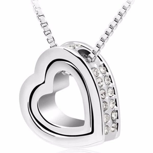 najlacnejšia bižutéria - náhrdelník - lacná bižutéria - bižutéria náušnice - bižutéria náhrdelníky - lacna bizuteria - swarovski sety - swarovsi náhrdelník - najlacnejšia bižutéria - swarovski set - doplnky na stužkovú - šperky sety - šperky z chirurgickej ocele - bižutéria sety - bižutéria náhrdelníky - darček na stužkovú - šperky na stužkovú - set náhrdelník náušnice - Náhrdelník Double Heart-Strieborná KP4815