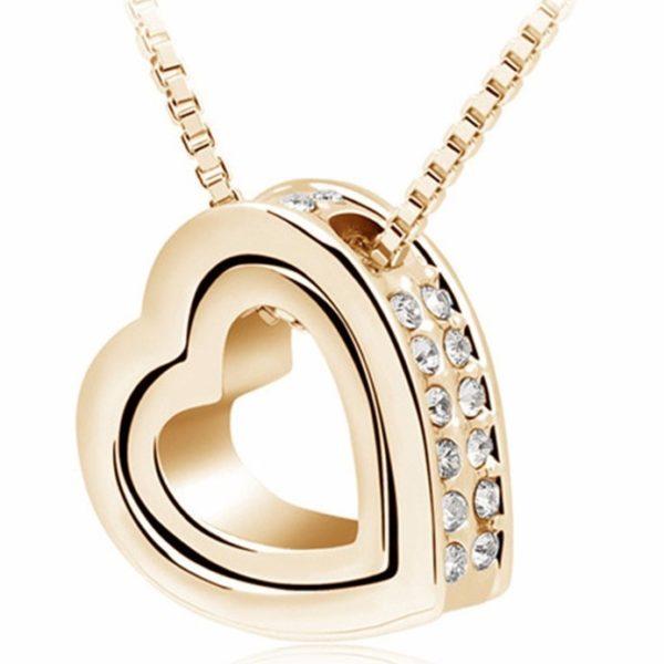 najlacnejšia bižutéria - náhrdelník - lacná bižutéria - bižutéria náušnice - bižutéria náhrdelníky - lacna bizuteria - swarovski sety - swarovsi náhrdelník - najlacnejšia bižutéria - swarovski set - doplnky na stužkovú - šperky sety - šperky z chirurgickej ocele - bižutéria sety - bižutéria náhrdelníky - darček na stužkovú - šperky na stužkovú - set náhrdelník náušnice - Náhrdelník Double Heart-Zlatá KP4814