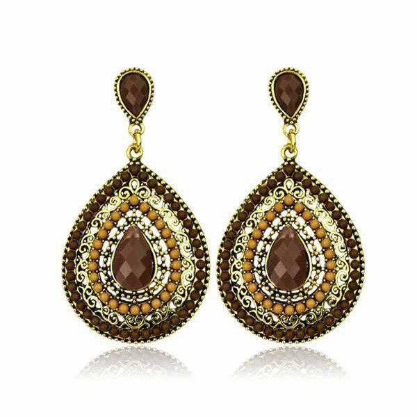 lacna bizuteria - najlacnejšia bižutéria - doplnky na stužkovú - šperky sety - šperky z chirurgickej ocele - darček na stužkovú - šperky na stužkovú - Náušnice Drop Vintage - Hnedá KP458
