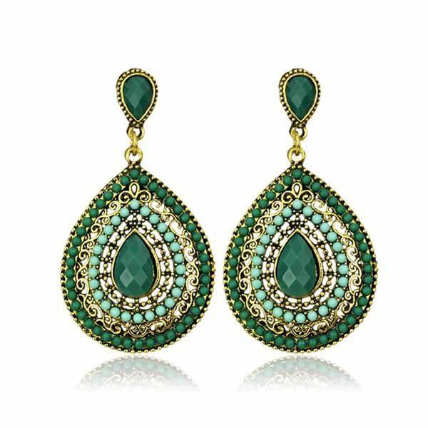 lacna bizuteria - najlacnejšia bižutéria - doplnky na stužkovú - šperky sety - šperky z chirurgickej ocele - darček na stužkovú - šperky na stužkovú - Náušnice Drop Vintage - Tyrkysová KP461