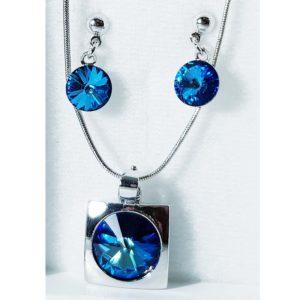 najlacnejšia bižutéria - náhrdelník - lacná bižutéria - bižutéria náušnice - bižutéria náhrdelníky - lacna bizuteria - swarovski sety - swarovsi náhrdelník - najlacnejšia bižutéria - swarovski set - doplnky na stužkovú - šperky sety - šperky z chirurgickej ocele - bižutéria sety - bižutéria náhrdelníky - darček na stužkovú - šperky na stužkovú - set náhrdelník náušnice - Set Emily SWAROVSKI-Str./Modrá KP3936