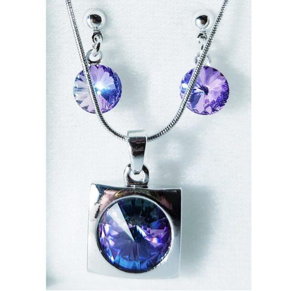 najlacnejšia bižutéria - náhrdelník - lacná bižutéria - bižutéria náušnice - bižutéria náhrdelníky - lacna bizuteria - swarovski sety - swarovsi náhrdelník - najlacnejšia bižutéria - swarovski set - doplnky na stužkovú - šperky sety - šperky z chirurgickej ocele - bižutéria sety - bižutéria náhrdelníky - darček na stužkovú - šperky na stužkovú - set náhrdelník náušnice - Set Emily SWAROVSKI-Str./FialováAB KP3939