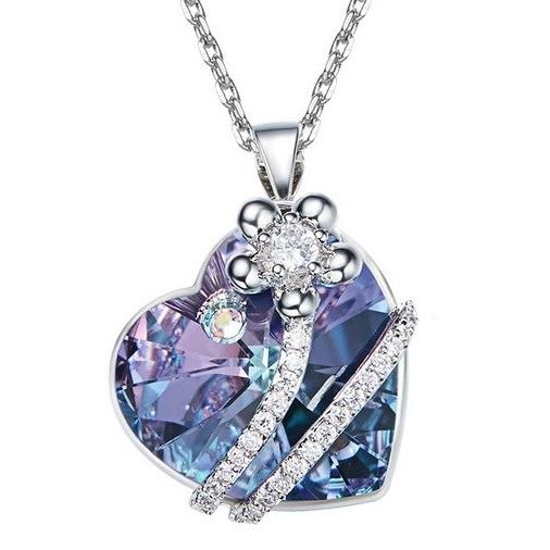najlacnejšia bižutéria - náhrdelník - lacná bižutéria - bižutéria náušnice - bižutéria náhrdelníky - lacna bizuteria - swarovski sety - swarovsi náhrdelník - najlacnejšia bižutéria - swarovski set - doplnky na stužkovú - šperky sety - šperky z chirurgickej ocele - bižutéria sety - bižutéria náhrdelníky - darček na stužkovú - šperky na stužkovú - set náhrdelník náušnice - Náhrdelník Finest Heart EXCLUSIVE-FialováAB KP5025