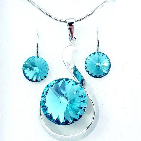 najlacnejšia bižutéria - náhrdelník - lacná bižutéria - bižutéria náušnice - bižutéria náhrdelníky - lacna bizuteria - swarovski sety - swarovsi náhrdelník - najlacnejšia bižutéria - swarovski set - doplnky na stužkovú - šperky sety - šperky z chirurgickej ocele - bižutéria sety - bižutéria náhrdelníky - darček na stužkovú - šperky na stužkovú - set náhrdelník náušnice - Set Gertrude SWAROVSKI-Tyrkysová KP4750