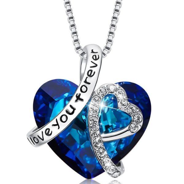 najlacnejšia bižutéria - náhrdelník - lacná bižutéria - bižutéria náušnice - bižutéria náhrdelníky - lacna bizuteria - swarovski sety - swarovsi náhrdelník - najlacnejšia bižutéria - swarovski set - doplnky na stužkovú - šperky sety - šperky z chirurgickej ocele - bižutéria sety - bižutéria náhrdelníky - darček na stužkovú - šperky na stužkovú - set náhrdelník náušnice - Náhrdelník I Love You Forever EXCLUSIVE-Modrá KP5026
