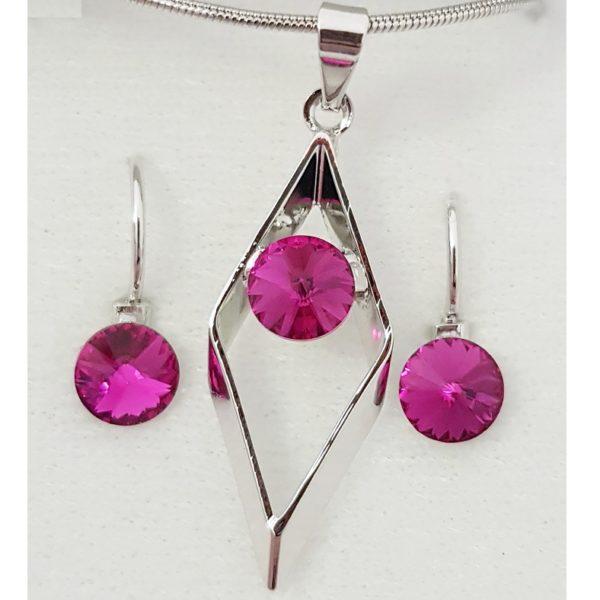 najlacnejšia bižutéria - náhrdelník - lacná bižutéria - bižutéria náušnice - bižutéria náhrdelníky - lacna bizuteria - swarovski sety - swarovsi náhrdelník - najlacnejšia bižutéria - swarovski set - doplnky na stužkovú - šperky sety - šperky z chirurgickej ocele - bižutéria sety - bižutéria náhrdelníky - darček na stužkovú - šperky na stužkovú - set náhrdelník náušnice - Set Inge SWAROVSKI-Tm.Ružová KP4752