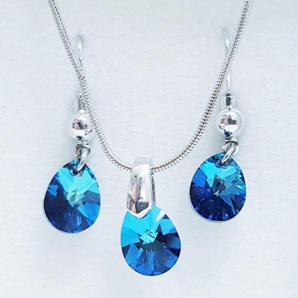 najlacnejšia bižutéria - náhrdelník - lacná bižutéria - bižutéria náušnice - bižutéria náhrdelníky - lacna bizuteria - swarovski sety - swarovsi náhrdelník - najlacnejšia bižutéria - swarovski set - doplnky na stužkovú - šperky sety - šperky z chirurgickej ocele - bižutéria sety - bižutéria náhrdelníky - darček na stužkovú - šperky na stužkovú - set náhrdelník náušnice - Set Jutta SWAROVSKI-Modrá KP4754