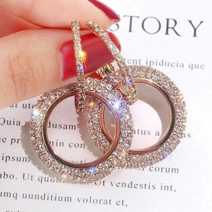 lacna bizuteria - najlacnejšia bižutéria - doplnky na stužkovú - šperky sety - šperky z chirurgickej ocele - darček na stužkovú - šperky na stužkovú - Náušnice Kreise-Ružová/Zlatá KP5059