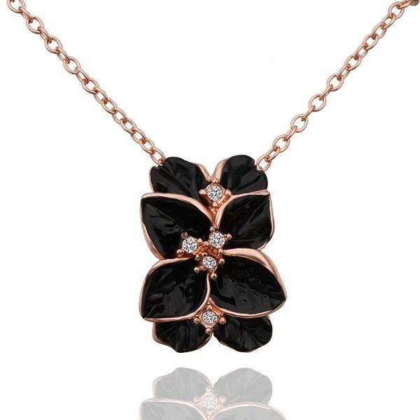 najlacnejšia bižutéria - náhrdelník - lacná bižutéria - bižutéria náušnice - bižutéria náhrdelníky - lacna bizuteria - swarovski sety - swarovsi náhrdelník - najlacnejšia bižutéria - swarovski set - doplnky na stužkovú - šperky sety - šperky z chirurgickej ocele - bižutéria sety - bižutéria náhrdelníky - darček na stužkovú - šperky na stužkovú - set náhrdelník náušnice - Náhrdelník Leaf Flower - Čierna KP934