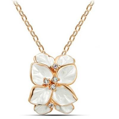 najlacnejšia bižutéria - náhrdelník - lacná bižutéria - bižutéria náušnice - bižutéria náhrdelníky - lacna bizuteria - swarovski sety - swarovsi náhrdelník - najlacnejšia bižutéria - swarovski set - doplnky na stužkovú - šperky sety - šperky z chirurgickej ocele - bižutéria sety - bižutéria náhrdelníky - darček na stužkovú - šperky na stužkovú - set náhrdelník náušnice - Náhrdelník Leaf Flower - Biela KP936