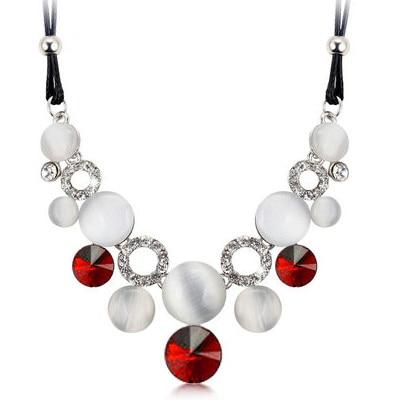 najlacnejšia bižutéria - náhrdelník - lacná bižutéria - bižutéria náušnice - bižutéria náhrdelníky - lacna bizuteria - swarovski sety - swarovsi náhrdelník - najlacnejšia bižutéria - swarovski set - doplnky na stužkovú - šperky sety - šperky z chirurgickej ocele - bižutéria sety - bižutéria náhrdelníky - darček na stužkovú - šperky na stužkovú - set náhrdelník náušnice - Náhrdelník Opal Crystal-Červená KP4972