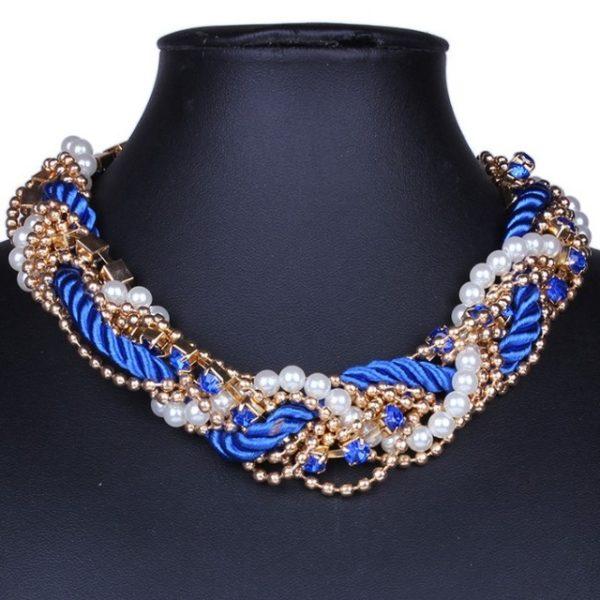 najlacnejšia bižutéria - náhrdelník - lacná bižutéria - bižutéria náušnice - bižutéria náhrdelníky - lacna bizuteria - swarovski sety - swarovsi náhrdelník - najlacnejšia bižutéria - swarovski set - doplnky na stužkovú - šperky sety - šperky z chirurgickej ocele - bižutéria sety - bižutéria náhrdelníky - darček na stužkovú - šperky na stužkovú - set náhrdelník náušnice - Náhrdelník Pearl Maxi - Modrá KP982