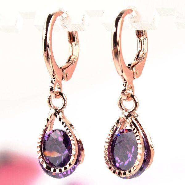 lacna bizuteria - najlacnejšia bižutéria - doplnky na stužkovú - šperky sety - šperky z chirurgickej ocele - darček na stužkovú - šperky na stužkovú - Náušnice Stone - Fialová KP478