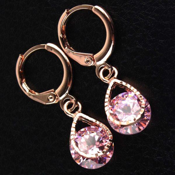 lacna bizuteria - najlacnejšia bižutéria - doplnky na stužkovú - šperky sety - šperky z chirurgickej ocele - darček na stužkovú - šperky na stužkovú - Náušnice Stone - Ružová KP482