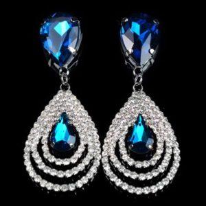 lacna bizuteria - najlacnejšia bižutéria - doplnky na stužkovú - šperky sety - šperky z chirurgickej ocele - darček na stužkovú - šperky na stužkovú - Náušnice Christina - Modrá KP638