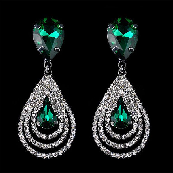 lacna bizuteria - najlacnejšia bižutéria - doplnky na stužkovú - šperky sety - šperky z chirurgickej ocele - darček na stužkovú - šperky na stužkovú - Náušnice Christina - Zelená KP639